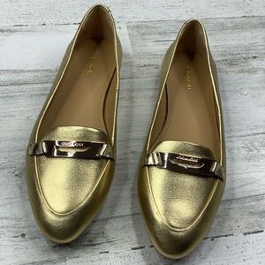 Coach Ruthie Gold Loafers Size 7.5B